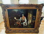 """The Chess Players Hamza Painting Reproduction In Ornate Carved Gesso Frame 5'2""""l"""