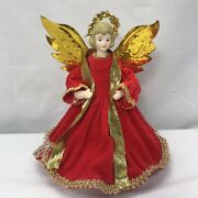 Vintage 1950andrsquos Christmas Angel Christmas Tree Top Topper Red W/ Gold Halo Wings