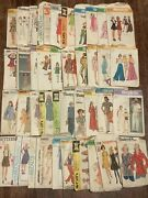 Lot Of 40 Vintage Sewing Patterns 40's 50's 60's Simplicity Mccalls Butternick