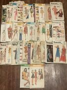 Lot Of 32+ Vintage Sewing Patterns 40's 50's 60's Simplicity Mccalls Butternick