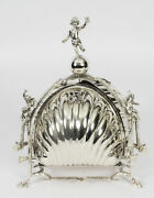 Antique Silver Plate Triple Shell Shaped Sweets Biscuit Box C.1890 19th C