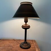 Vintage 22andrdquo Metal Tole Black And Gold Table Lamp Milk Glass Shade Desk Light