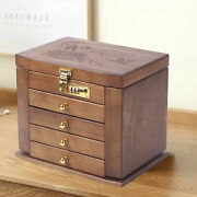 2/5-tire Vintage Wooden Jewelry Organizer Mirror And Combination Lock Drawer