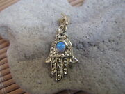 14kt Gold Hamsa Pendant Charm With Opal Bead Stone, For Bracelets And Chains