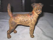Antique Hubley Fox Terrier Home Statue Tool Doorstop Cast Iron Dog Art Door Stop