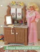 Antique Washstand And Mirror Fits Barbie Dolls, Plastic Canvas Pattern Leaflet