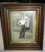 Antique Country Primitive Wood Art Gold Frame Man Horse Country Pony Farm Photo