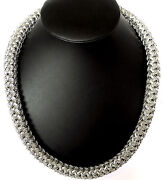 29 Big Woven Link Chain Silver Brass Hip Hop Necklace