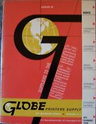 Globe Graphic Arts Printers Printing Type Font Lithography Supply Catalog Tools