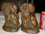 Antique Jb Jennings Brothers Large Lion And Mouse Art Sculpture Statue Bookends