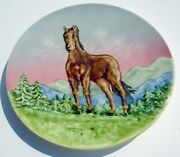 Old Antique Smf Schramberg Kandgemait Majolica Wall Plate Horse With Mountains