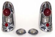 56 Chevy Chrome Rear Tail Light Housing Assembly Pair 1956 Chevrolet