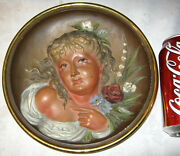 Antique Bradley And Hubbard Cast Iron Summer Rose Flower Wall Art Plaque Painting