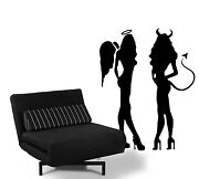Angel And Devil Sexy Girl Wall / Car Decal Sticker Highest Quality Big Or Small