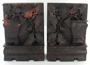 Antique Chinese Carved Soapstone Flower Pot Bookends Mantel Piece Doorstop