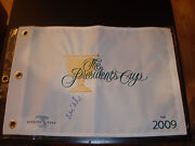 Mike Weir Signed 2009 President's Cup Golf Flag Psa/dna Harding Park 1