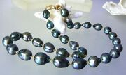 Rare Amazing Genuine Saltwater Tahitian South Sea Pearl 14k Solid Gold Necklace