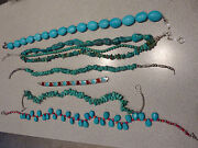 Turquoise And Silver Necklace Bracelet Lot 7 Pieces