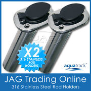 2 X 316 Marine Grade Stainless Steel 30anddeg Angled Boat Fishing Rod Holders And Caps