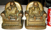 Antique Armor Bronze Girl Dog Book Chair Toy Art Statue Sculpture Clad Bookends