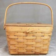 Longaberger Dresden Oh Wooden Woven 1990 Small Purse Sewing Basket Swing Handle