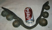 Antique Primitive Equestrian Horse Brass Farm Sleigh Bells Leather Country Art