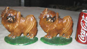 Antique Hubley 353 Pekingese Cast Iron China Toy Dog Art Statue Puppy Bookends