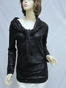 St John Knit Couture Nwt Black Stud And Paillettes Top Sz 4 6 Rt 1195