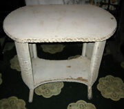 Antique Wood Wicker Patio Garden Yard Art Furniture Table Chic Usa Shabby Stand