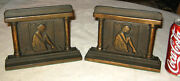 Antique Lady Girl Home Hearth Fireplace Cast Iron Art Statue Sculpture Bookends
