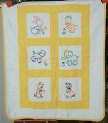 Vintage 30's Embroidered Animals Antique Crib Quilt Kitten, Bunny And Elephant