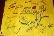 Masters Champions Signed Auto 2001 Flag Seve Arnold Palmer Nicklaus Phil