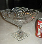 Antique Lg. American Cut Glass Flower Compote Bowl Stand Kitchen Garden Art Dish