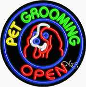 Brand New Andldquopet Grooming Open 26x26 Round Real Neon Sign W/custom Options 11148