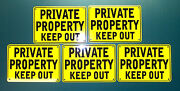 ''private Property Keep Out'' 10 X 7 Yellow Signs, Metal 5 Set