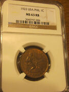 1922 1 Cent U.s - Philippines Super Rare Ngc Ms63 Rb Red/brown