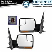 Power Heated Signal Memory Mirrors W/chrome And Black Caps Pair Set For 04-13 F150