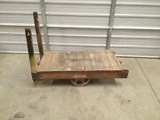 Vintage Antique Industrial Machine Age Wooden Factory Cart Coffee Table Casters