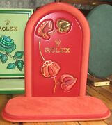 Genuine Rolex Dealer Shop Window Display Stand Watch Leather Suede Flower Large