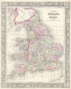 County Map Of England And Wales 1867 By Ward Maps Art Print Vintage Poster 13x19