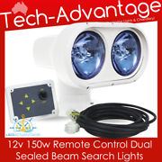 12v Sealed Dual Beam 150w Remote Controlled Boat Marine Yacht Search Light