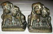 Antique 9 1/2 Pounds Solid Cast Iron Hubley 272 Orphan Puppy Dog Art Bookends