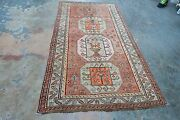 Antique Russian Kazak Caucasian Wool Rug Hand Knotted 4and039 X 7and0393