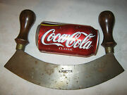 Antique Primitive Americana Art Country Kitchen Tool Wood Iron Bowl Food Chopper
