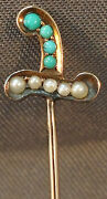 C. 1900s Solid Gold Seed Pearl Turquoise Sword Scarf Hat Lapel Stick Pin Brooch