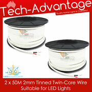 100m X 2mm 7 Amp Boat Marine Tinned Two Core Led Light Wiring Electrical Cable