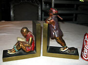 Huge Antique Ronson Chinese Asian Man Lady Art Statue Sculpture Book Bookends