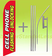 Cell Phone Flashing Unlocking Swooper Flag Kit Feather Tall Banner Sign 15'- Rb