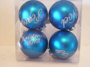 4 Turquois Silver Bow Noel Joy Peace 2013 Ornaments Christmas Decorations