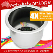 4 X Stainless Steel Boat/rv Twin Size Wine Bottle/cup/drink Holders With Drain